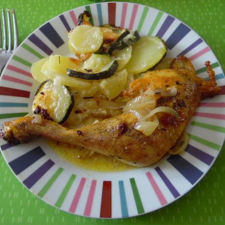 RECIPE MAIN IMAGE Cuisse de poulet courgettes et P.T.