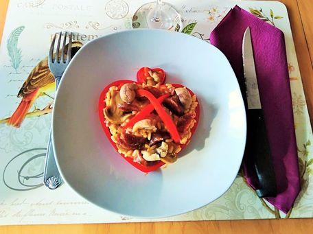 RECIPE MAIN IMAGE Risotto aux châtaignes, chorizo et poivrons