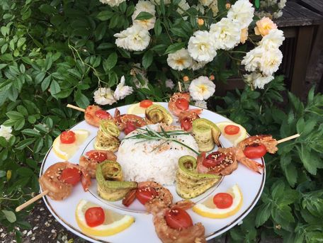 RECIPE MAIN IMAGE Brochette de crevettes marinées