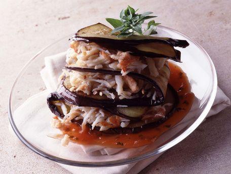 RECIPE MAIN IMAGE Mille-feuille d'aubergine au crabe
