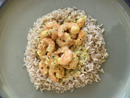 RECIPE MAIN IMAGE Crevettes au curry et son riz