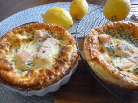 RECIPE MAIN IMAGE Petites tartes au saumon, citron et ciboulette