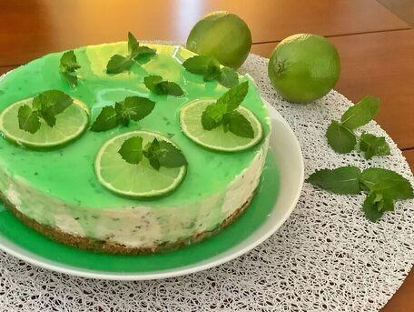 RECIPE MAIN IMAGE Cheesecake à la menthe et au citron vert