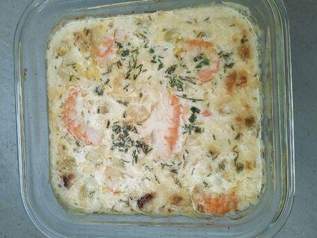 RECIPE MAIN IMAGE Gratin de crevettes et riz au lait de coco