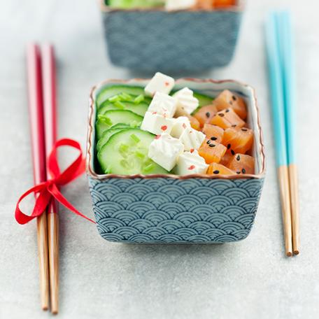 RECIPE MAIN IMAGE Salade concombre et saumon, caprice des Anges