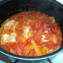 Filets de cabillaud tomates poivrons
