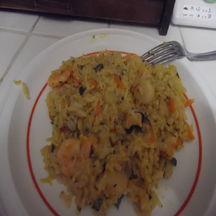 Riz crémeux avec noix de st jacques, crevettes et moules