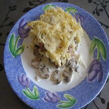 Gratin de pâtes aux champignons & lardons