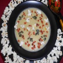 Soupe aux deux maïs et chorizo.
