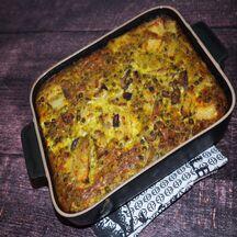 Clafoutis aux petits légumes, au thon et au pesto