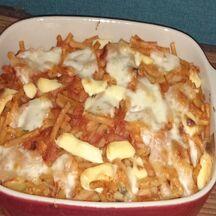 Gratin de macaronis à la mozzarella