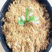 Mon gâteau façon crumble aux mirabelles de mon jardin