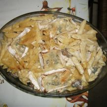 Gratin de pâtes au poulet et au bleu