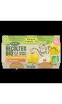 Desserts pour bébé pommes et poires dès 4/6 mois Blédina Les Récoltes Bio