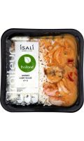 Plat cuisiné Gambas curry rouge riz Isali