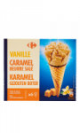 Cônes Vanille Caramel Beurre Salé Carrefour
