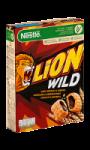 Céréales croustillantes au goût caramel fourrées au chocolat Lion